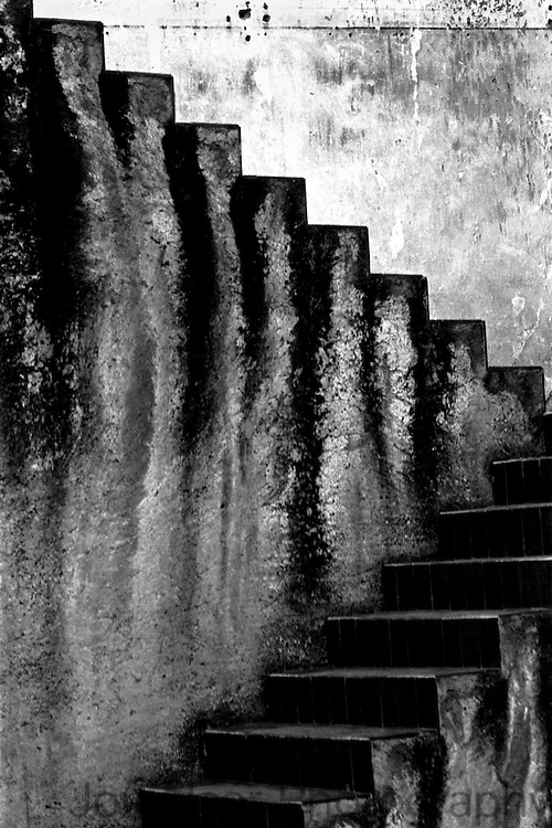 A Black and white photo of the steps leading to Convent of El Carmen. Taken with a Nikon F on 35 mm film.