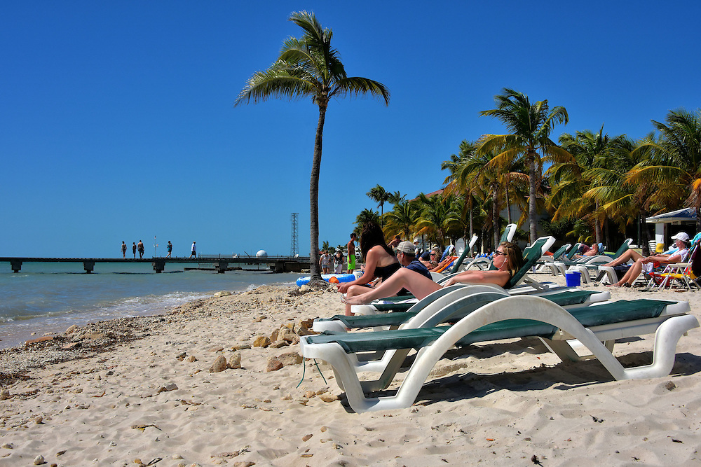 Sunning at Higgs Beach in Key West, Florida<br /> Between the White Street Pier and the Reynolds Street Pier in the background is the Clarence S. Higgs Memorial Beach. The 16.5 acres includes ramp-accessible pavilions, fast-food restaurant, dog-friendly park, playground for kids, courts for tennis and volleyball plus places to rent water toys and chairs for a delightful day in the Florida sun. Parking and the sand are included at no charge.