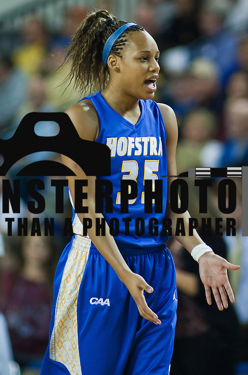 01/26/12 Newark DE: Hofstra Senior Center Marie Malone #35 looks for answer from the sidelines during a Colonial Athletic Association basketball game against Delaware Thursday, Jan. 26, 2012 at the Bob carpenter center in Newark Delaware...