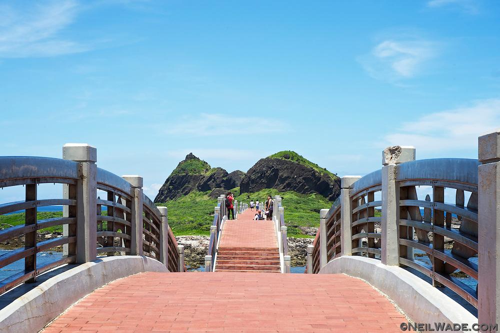 The Sanxiantai Dragon Bridge near Taitung, Taiwan is a beautiful tourist attraction on the east coast.