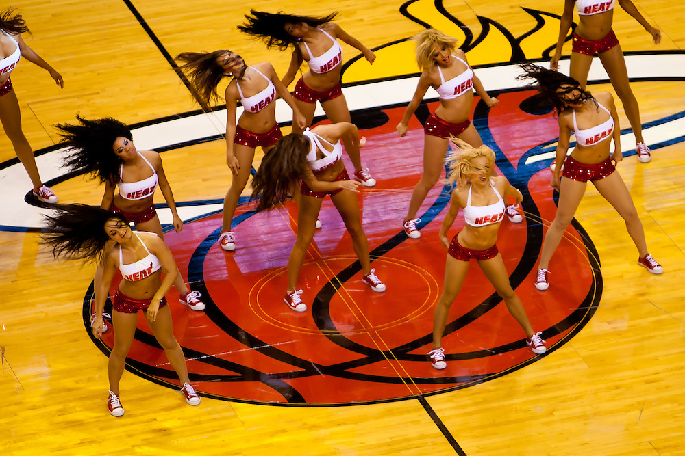 MIAMI, FL -- January 29, 2012 -- Miami Heat Dancers perform during the 97-93 Heat win over the Chicago Bulls at American Airlines Arena in Miami, Fla., on Sunday, January 29, 2012.  (Chip Litherland for ESPN the Magazine)