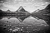 reflection on pray lake sinopah mountain glacier national park