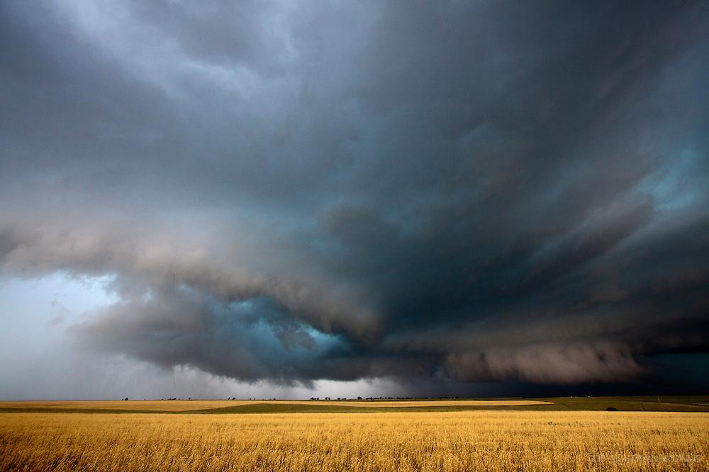 A multivortex tornado is forming near Slapout, Oklahoma, June 13, 2010.
