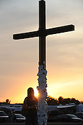 A cross is decorated with prayer requests at Lifest, a Christian music festival in Oshkosh, Wis. (Photo by Sam Lucero)