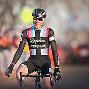 SHOT 1/12/14 4:42:55 PM -  Jeremy Powers (#3) of Easthampton, Ma. celebrates as he crosses the finish line in the Men's Elite race at the 2014 USA Cycling Cyclo-Cross National Championships at Valmont Bike Park in Boulder, Co. Powers won the event with a time of 59:16.  (Photo by Marc Piscotty / © 2014)