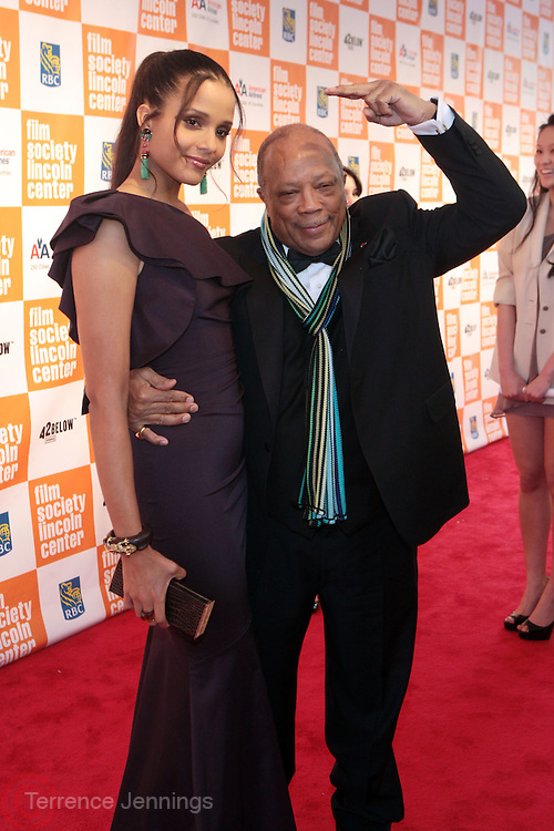 New York, NY- May 02:  (l to r) Actress Sydney Tamiia Poitier and Quincy Jones at The Film Society's Annual Gala Presentation of the 38th Annual Chaplain Award Honoring Sidney Poitier held at Lincoln Center on May 2, 2011 in New York City. Photo Credit: Terrence Jennings