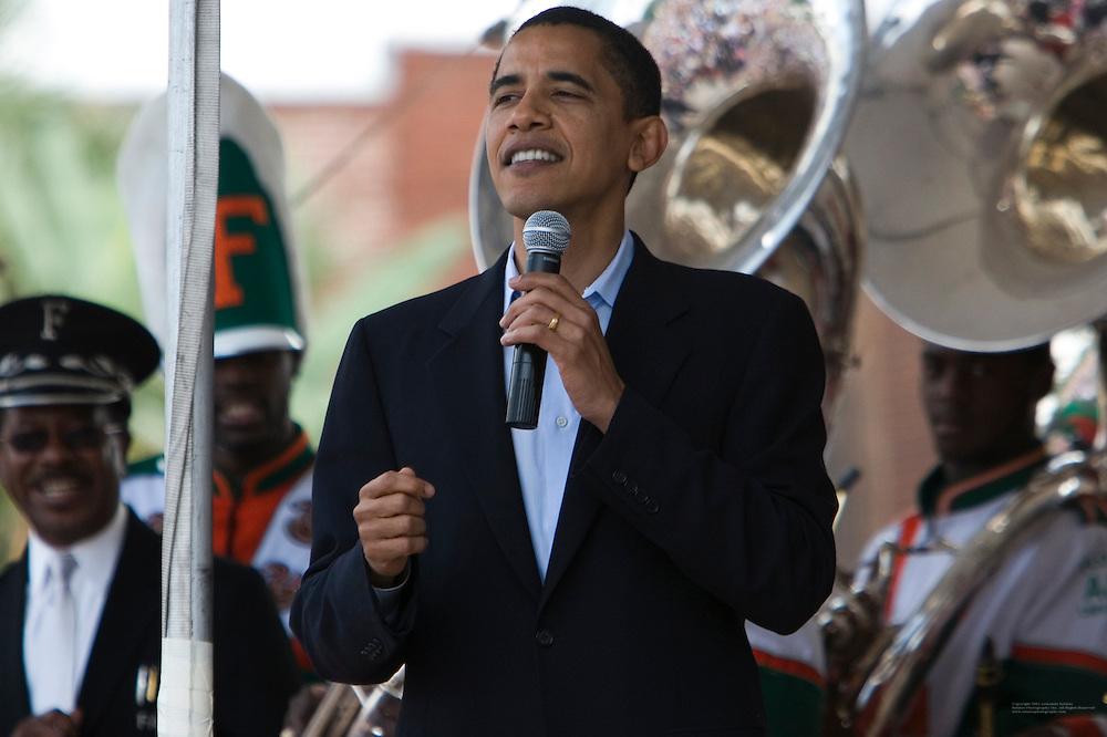 Senator and presidential hopeful Barak Obama visits Tampa, Florida and kicks-off his fund raising event at the Cuban Club in Ybor City.