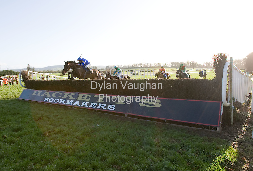 "24/1/2008.Over 8,000 fans from across the region attended Thyestes race day at Gowran Park Golf and Race Course..Pictured jumping the last on the way to winning The Ellen Construction Thyestes Handicap Steeplechase  of EUR100,000 was P.T Enright on ""Preist Leap""..Picture Dylan Vaughan."