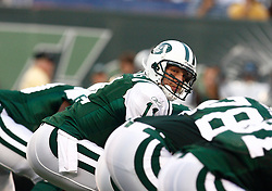 Aug 14, 2009; East Rutherford, NJ, USA;   New York Jets quarterback Kellen Clemens (11) gets ready for the snap during the first half at Giants Stadium.