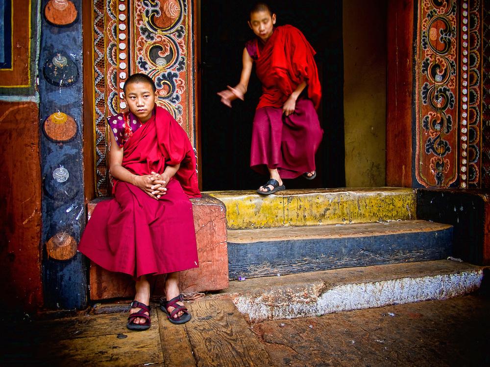 Asia, Bhutan, Travel, little, young, monk