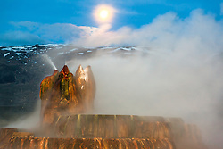 """Full Moon Over Fly Geyser 2"" - Photograph of the famous Fly Geyser in Nevada with a full moon above it."