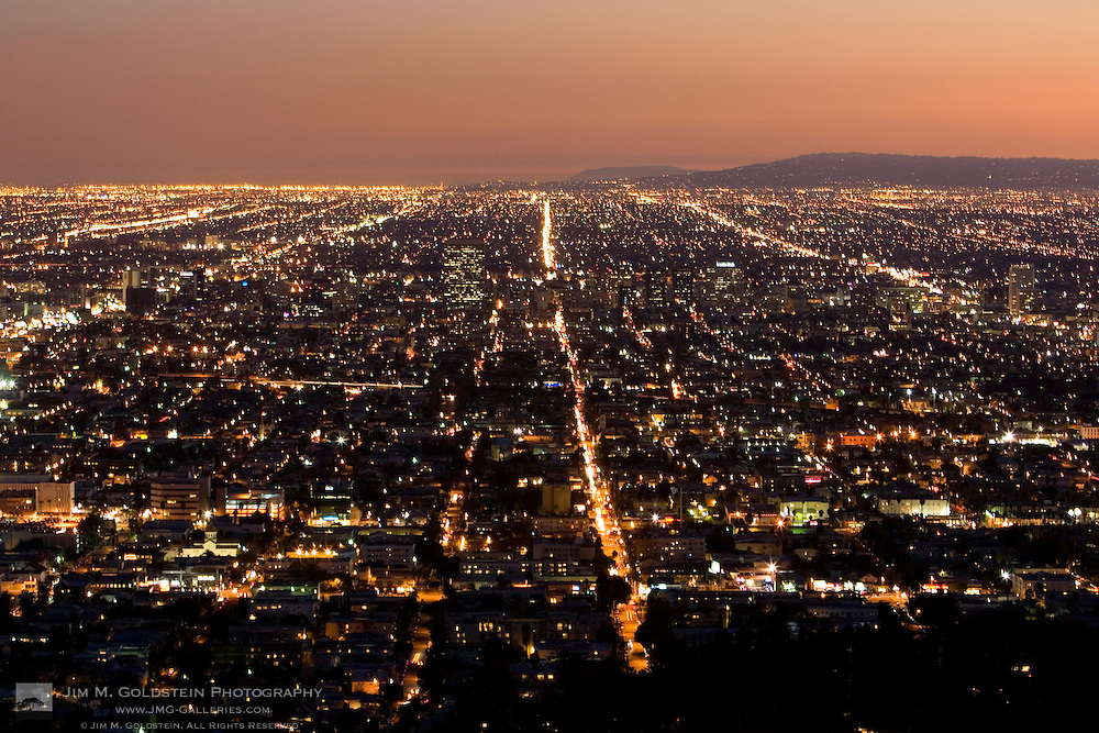 A sunset view of Los Angeles from Griffith Observatory in Griffith Park.