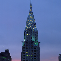 Chrysler Building at sunset, architect William van Allen 1930, NYC. 77 story Art Deco masterpiece.