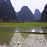 AA01205-03...CHINA - Flooded rice fields along the Li River near Yangshuo.