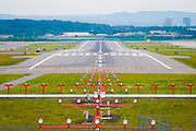 USA, New Hampshire, Manchester. A view down Runway 35 at Manchester-Boston Regional Airport (MHT).