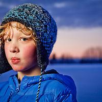 Six grade student at Chugach Elementary School, Sam Joling, enjoys skating at Westchester Lagoon, Anchorage