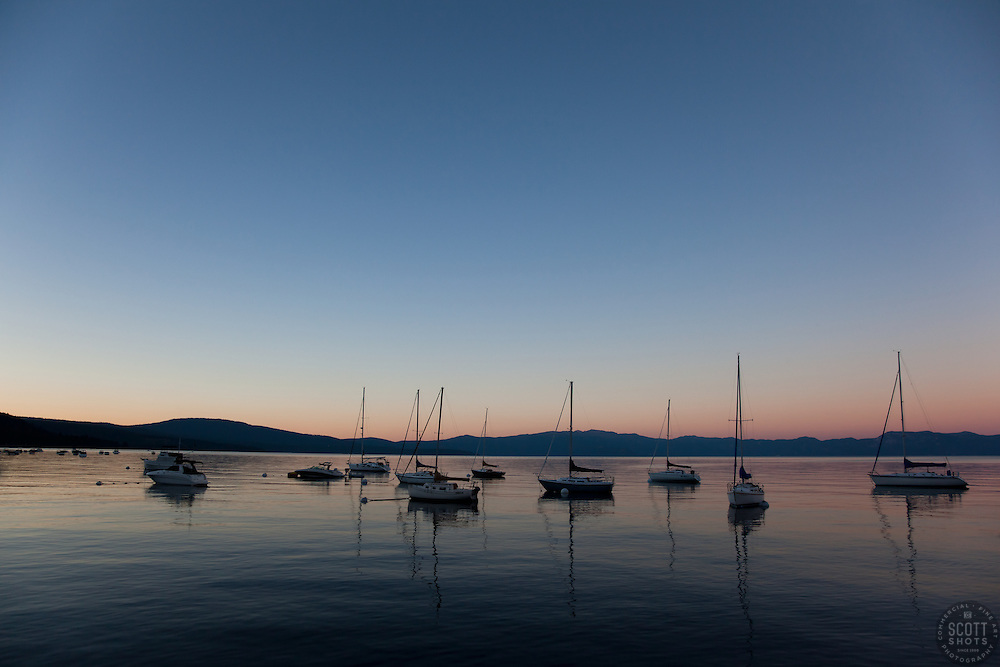 """Boats on Lake Tahoe 1"" - These boats were photographed at sunset from the West shore of Lake Tahoe, California."