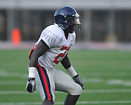 Ole Miss defensive back Senquez Golson, a Boston Red Sox draft choice, goes through drills at Vaught-Hemingway Stadium in Oxford, Miss. on Saturday, August 13, 2011. Golson decided to stay at Ole Miss instead of signing to play baseball in the Red Sox organization.
