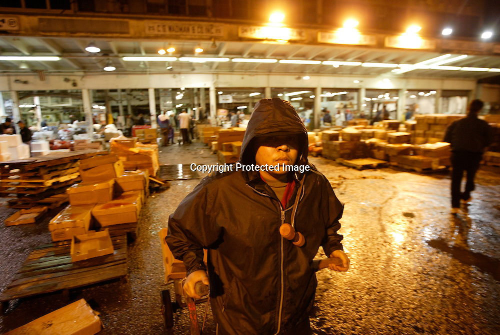 Worker Johnny Ceballo pulls a hand truck of fish at the Fulton Fish Market in New York November 10, 2005. After more than 170 years of operation, the Fulton Fish Market is scheduled to move to a new indoor facility the Bronx by week's end.
