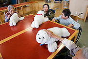PARO (Seal-like healing Robots)  interacting with pentioners  at the &ldquo;Toyoura&rdquo; nursing home. PARO has already sold 500 pieces in Japan from which 80% went to individual people and the rest to nursing homes.  In 2002 it won its place at the &ldquo;Guinness Book of Records&rdquo; as &ldquo;The Most Therapeutic Robot&rdquo;.<br /> http://www.paro.jp/english/index.html - TOKYO  20/4/2005