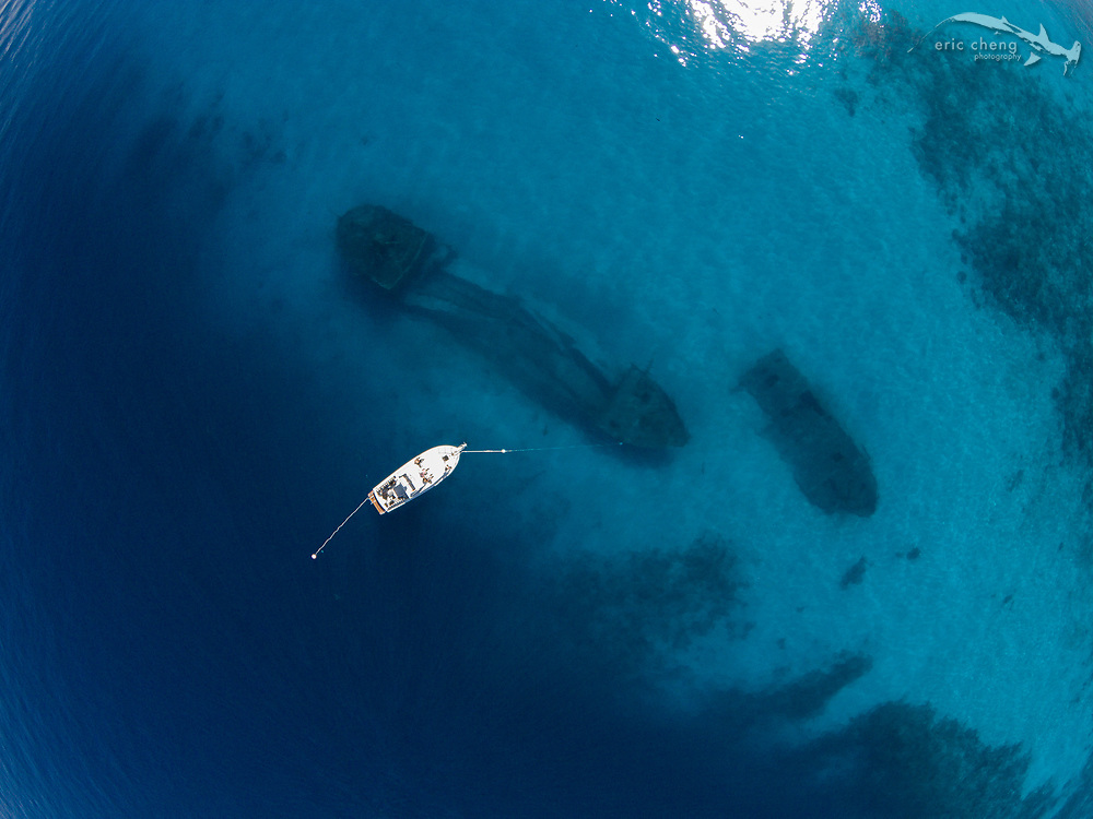 Aerial image of Ray of Hope shipwreck and Big Crab shipwreck from the air. Nassau, New Providence, Bahamas.