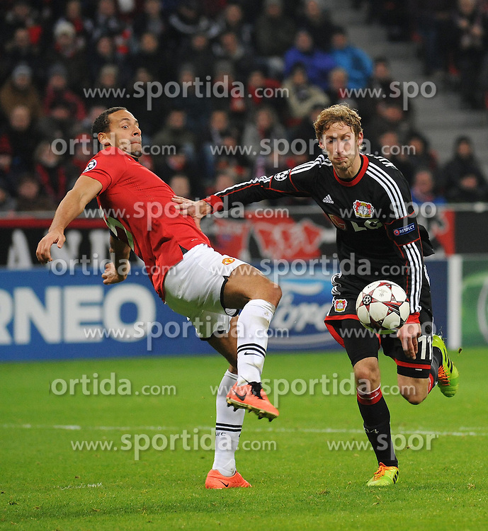 27.11.2013, BayArena, Leverkusen, GER, UEFA CL, Bayer Leverkusen vs Manchester United, Gruppe A, im Bild Stefan Kiessling ( rechts Bayer 04 Leverkusen ) im Zweikampf mit Rio Ferdinand ( links Manchester United / Action / Aktion ) // during UEFA Champions League group A match between Bayer Leverkusen vs Manchester United at the BayArena in Leverkusen, Germany on 2013/11/28. EXPA Pictures &copy; 2013, PhotoCredit: EXPA/ Eibner-Pressefoto/ Thienel<br /> <br /> *****ATTENTION - OUT of GER*****