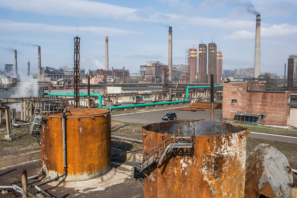 AVDIIVKA, UKRAINE - MARCH 18, 2015: Benzene tanks which burned after they were hit by rockets at the Avdiivka Coke and Steel plant in Avdiivka, Ukraine. CREDIT: Brendan Hoffman for The New York Times