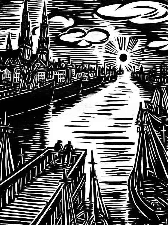 A black / white drawing of the inner harbor. Two people are watching on the dock watching the sunset. On the waterfront are ships waiting for the night.