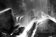 Rocks and boulders at the bottom of Narada Falls in Mount Rainier National Park, Washington State, USA