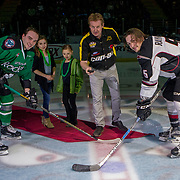 KELOWNA, CANADA - MARCH 17:  Banner Recreational Puck Drop with Rodney Southam #17 of the Kelowna Rockets & Jeff Rayman #5 of the Vancouver Giants at the Kelowna Rockets game on March 17, 2017 at Prospera Place in Kelowna, British Columbia, Canada.  (Photo By Cindy Rogers/Nyasa Photography,  *** Local Caption ***