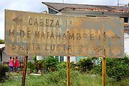 Faded road sign in Pons, Pinar del Rio, Cuba.