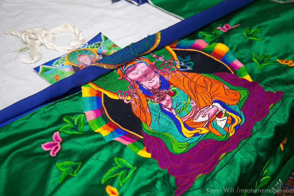 Asia, Bhutan, Thimpu. Bhutanese Embroidery.