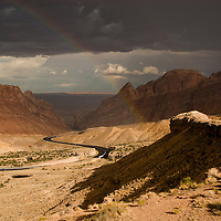 Sun shower with Rainbow in Utah