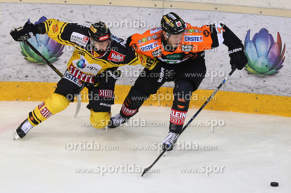 13.01.2017, Albert Schultz Halle, Wien, AUT, EBEL, UPC Vienna Capitals vs Moser Medical Graz 99ers, 43. Runde, im Bild Jerry Pollastrone (UPC Vienna Capitals) und Peter Robin Weihager (Moser Medical Graz 99ers) // during the Erste Bank Icehockey League 43rd Round match between UPC Vienna Capitals and Moser Medical Graz 99ers at the Albert Schultz Ice Arena, Vienna, Austria on 2017/01/13. EXPA Pictures © 2017, PhotoCredit: EXPA/ Thomas Haumer