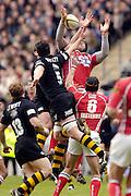 2006, Powergen Cup, Twickenham, Wasps Richard Birkett [N0.5] and Joe Worsley, jump with Scarlets Inoke Afeaki, London Wasps vs Llanelli Scarlets, ENGLAND, 09.04.2006, 2006, , © Peter Spurrier/Intersport-images.com.   [Mandatory Credit, Peter Spurier/ Intersport Images].