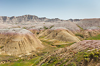 View of beautiful rock formations in the Badlands National Park in southwestern South Dakota.
