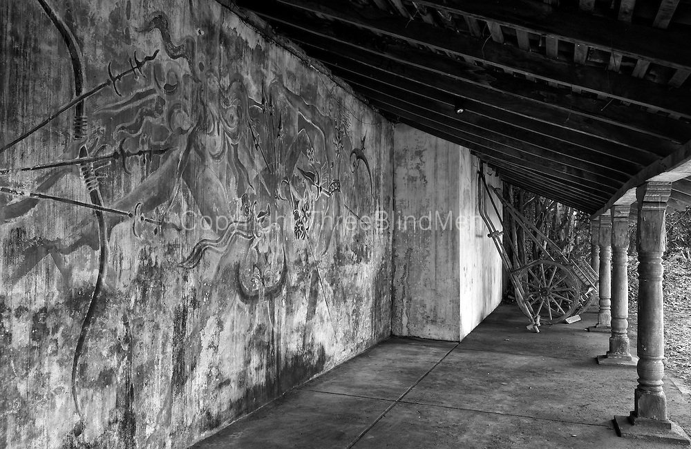 Mural by Laki Senanayake at loggia by the Bridge of Sighs.<br /> Lunuganga. The country home and garden of architect Geoffrey Bawa.