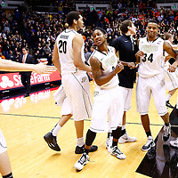 WEST LAFAYETTE, IN - JANUARY 02: Members of the Purdue Boilermakers celebrate after defeating the Illinois Fighting Illini at Mackey Arena on January 2, 2013 in West Lafayette, Indiana. Purdue defeated Illinois 68-61. (Photo by Michael Hickey/Getty Images)