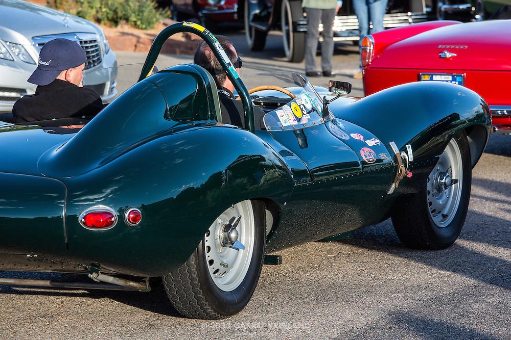 1956 Jaguar D-Type pulls into Arroyo Vino parking lot, on the 2012 Santa Fe Concorso High Mountain Tour.
