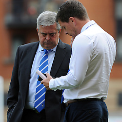 Bristol Rovers chairman , Nick Higgs with Bristol Rovers Manager Darrell Clarke - Mandatory byline: Neil Brookman/JMP - 07966386802 - 29/08/2015 - FOOTBALL - Matchroom Stadium -Leyton,England - Leyton Orient v Bristol Rovers - Sky Bet League Two