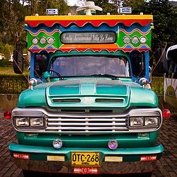 Colombian party bus (chiva) in Villa de Leyva, Boyacá, Colombia.