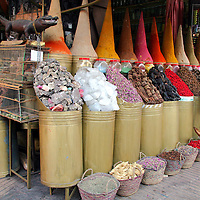 North Africa, Africa, Morocco, Marrakesh.  Souks selling spices in the Mellah, or Jewish Quarter, of Marrakesh.