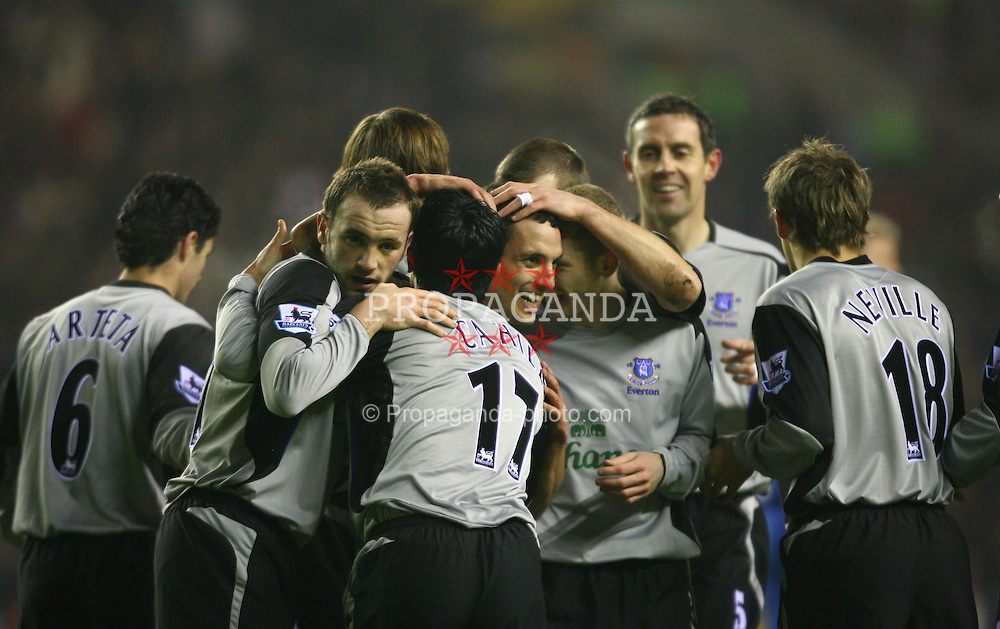 WIGAN, ENGLAND - TUESDAY, JANUARY 31st, 2006: Everton's Leon Osman (C) celebrates scoring the opening goal against Wigan Athletic with his team-mates during the Premiership match at the JJB Stadium. (Pic by David Rawcliffe/Propaganda)