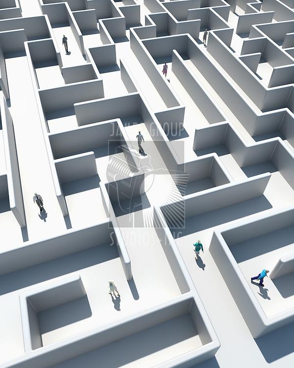 High Resolution 3d art showing Business people walking through a maze from a birds eye view