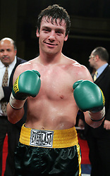John Duddy poses after his bout against Byron Mackie at Hammerstein Ballroom in NYC.  Duddy won the bout via 4th round KO to remain undefeated at 13-0, 12KO's.