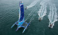 Image licensed to Lloyd Images<br /> &quot;Team Concise&quot; MOD70 Trimaran skippered by Ned Collier Wakefield shown here at the start of the 2015 Rolex Fastnet Race. Cowes. Isle of Wight<br /> Credit: Lloyd Images