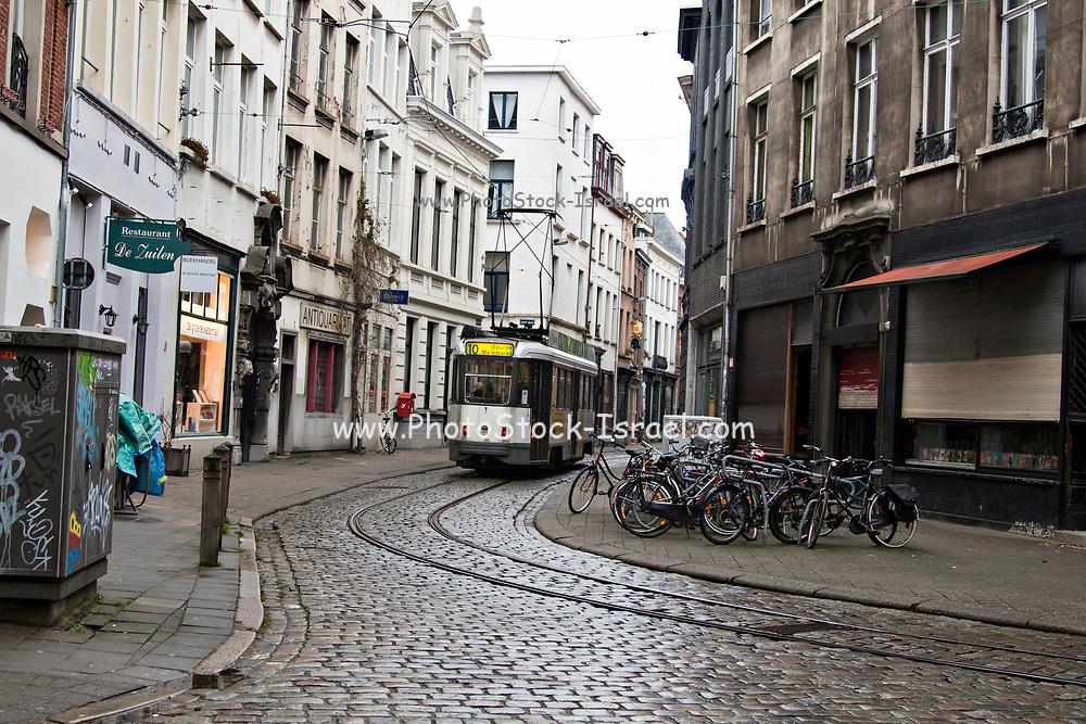 Tram in Old Town of  Antwerpen, Belgium