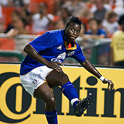 Everton FC Attacker Magaye Gueye #19 taking the corner kick during a MLS International friendly match between Everton FC of England and DC United.<br /> <br /> Everton FC Defeated DC United 3-1 Saturday, July 23, 2011, at  RFK Stadium in Washington DC.