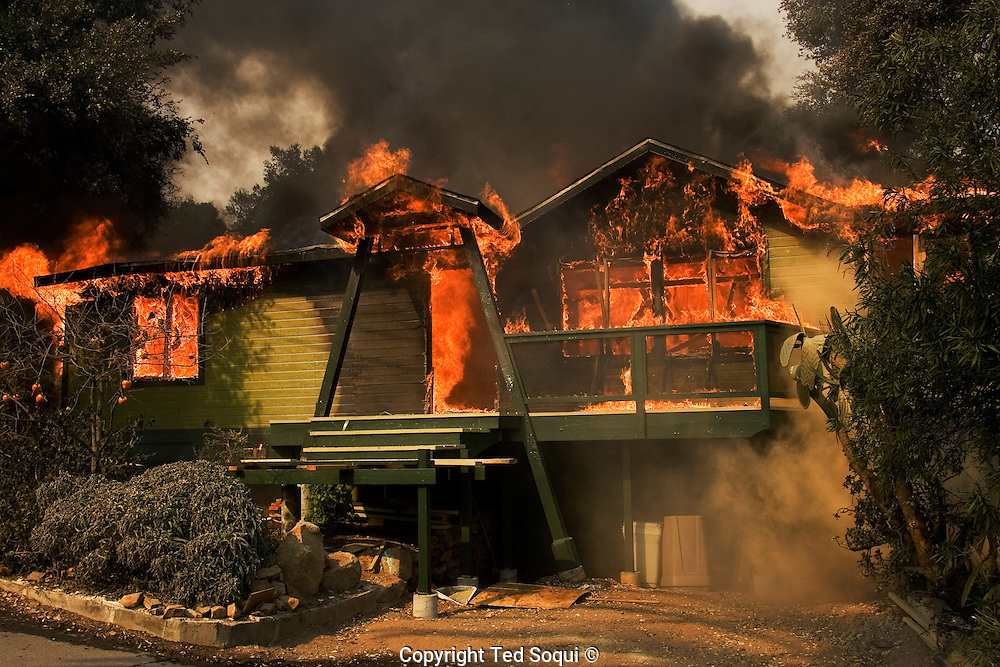 A home in the Rancho Santa Fe area of San Diego County burns down. San Diego area wild fires.