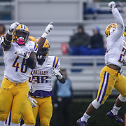 Albany linebacker Christian Harris (46) celebrates with his teammates after a week nine Colonial Athletic Association Conference win over the Delaware Blue Hens Saturday, Nov. 07, 2015 at Tubby Raymond Field at Delaware Stadium in Newark, DE.